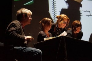 Drawing on the same page at the South Ken Kids Festival - left to right: Axel Scheffler, Delphine Perret, me!- and Beatrice Alemagna.
